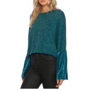 FREE PEOPLE Velvet Bell Sleeve Pullover